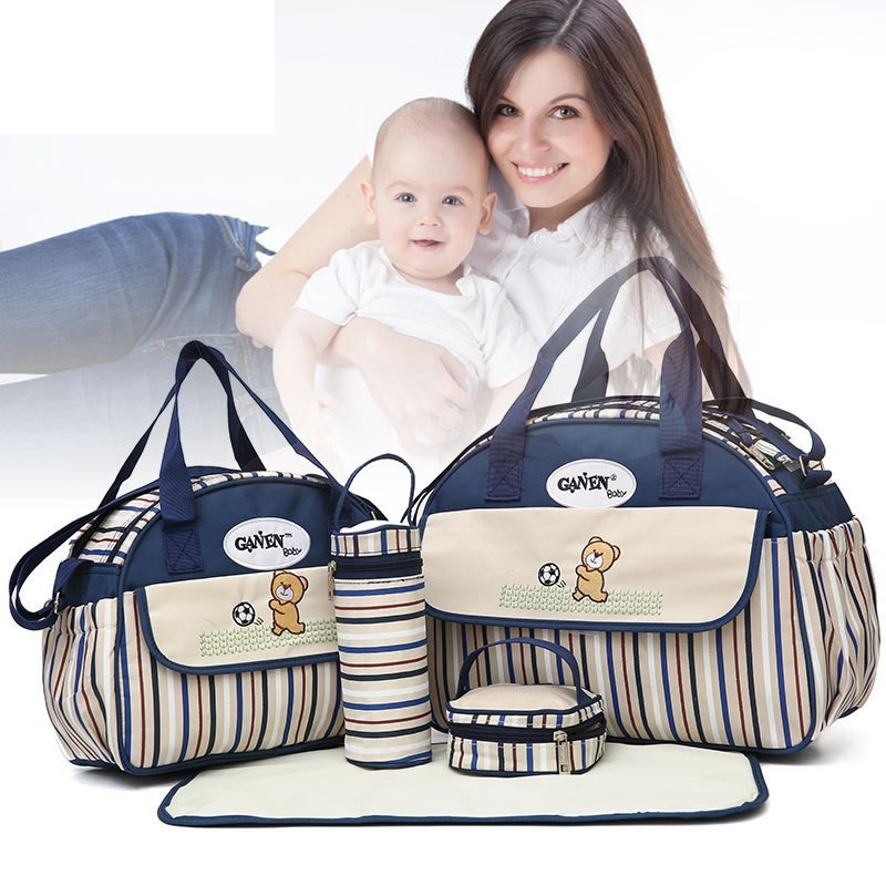 5 PCS/SET 2016 Baby Nappy Bags Diaper Bag Mother Shoulder Bag Fashion Maternity Mummy Handbag Waterproof Baby Stroller Bag
