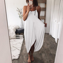 2019 Summer Loose spaghetti Straps Elegant Holiday Casual Party Beach Dress