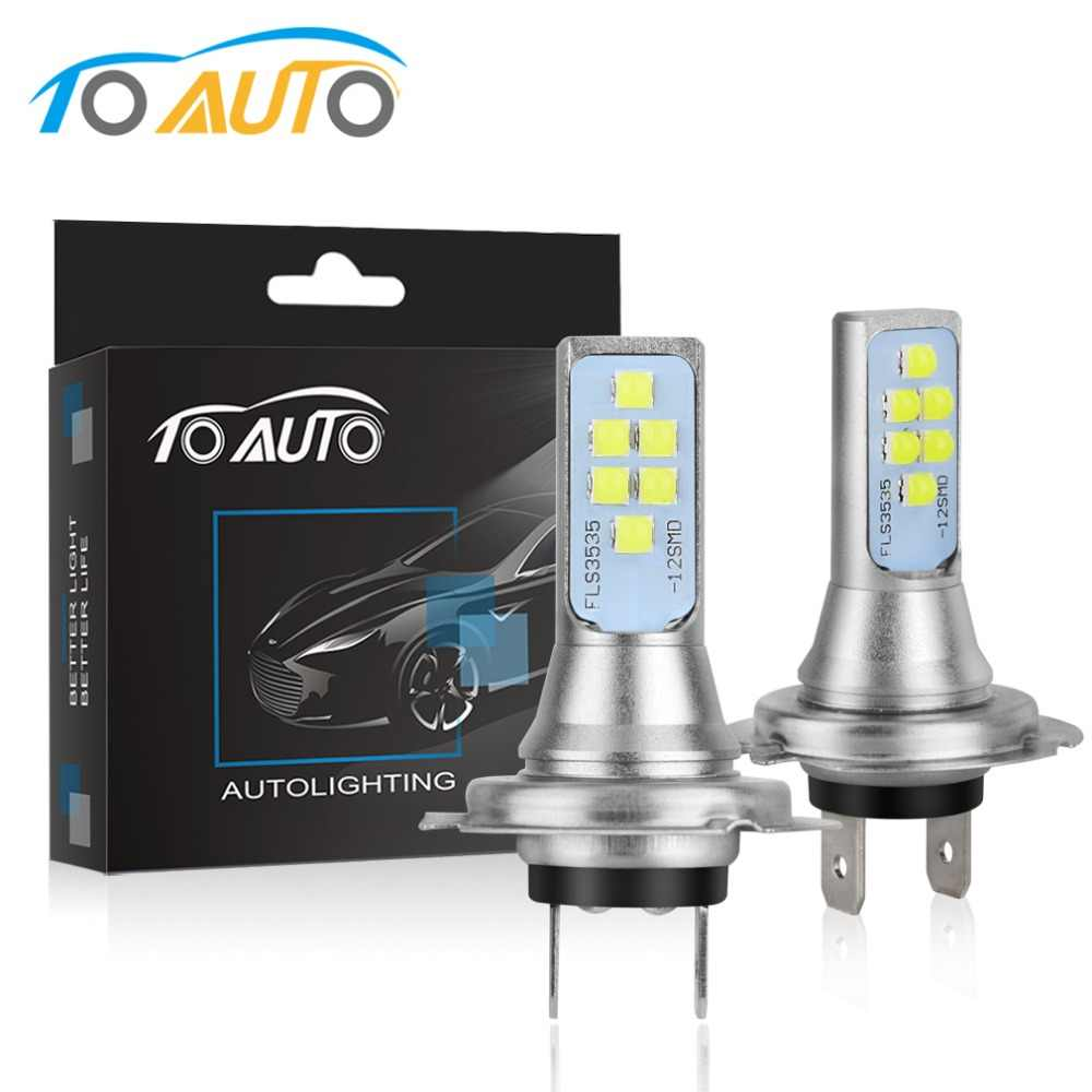 2pcs H7 LED Bulbs Car Fog Lamp 1400LM Driving Lamp Replacement for Fog Lights 6000K White Auto DC 12V 24V