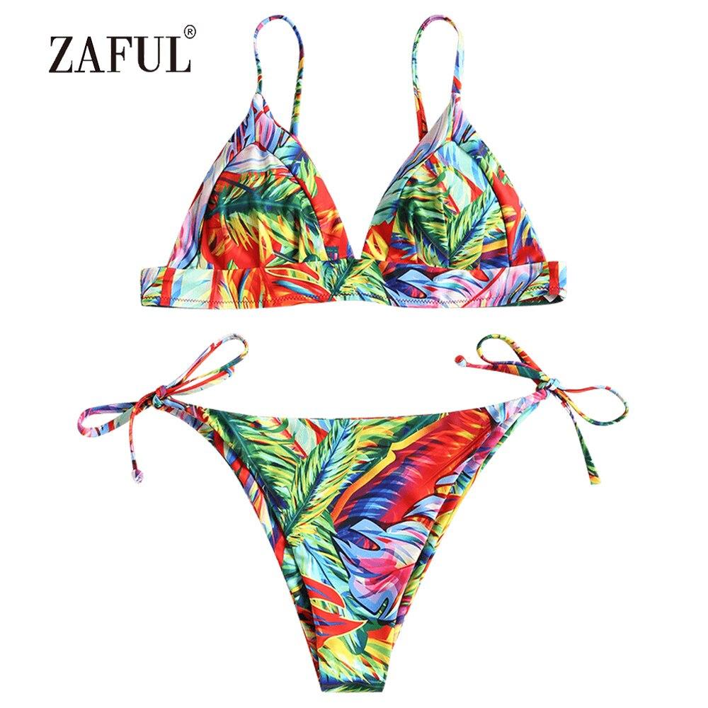 9422c621db4b0 Detail Feedback Questions about ZAFUL Bikini Leaf Tie Side Swimwear Women  Swimsuit Bralette Bathing Suit Novelty Spaghetti Straps Low Waist maillot  de bain ...