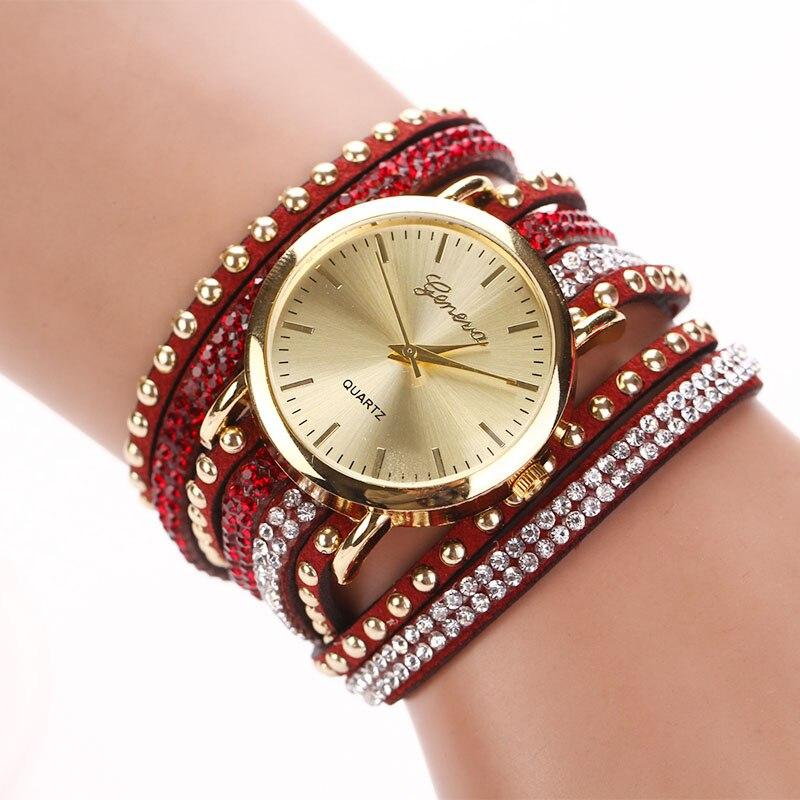 d60c8da9fe4 Nueva nuevas mujeres pulsera Relojes pu cuero rhinestone armadura Vogue señoras  reloj de cuarzo reloj montre Femme Relojes Mujer