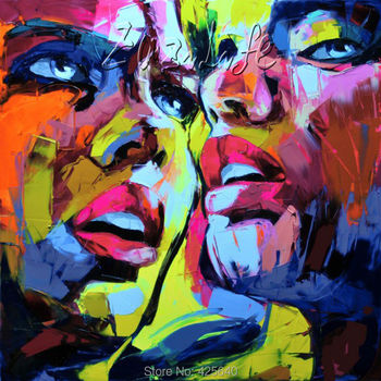 Palette knife painting portrait Palette knife Face Oil painting Impasto figure on canvas Hand painted Francoise Nielly 13-14