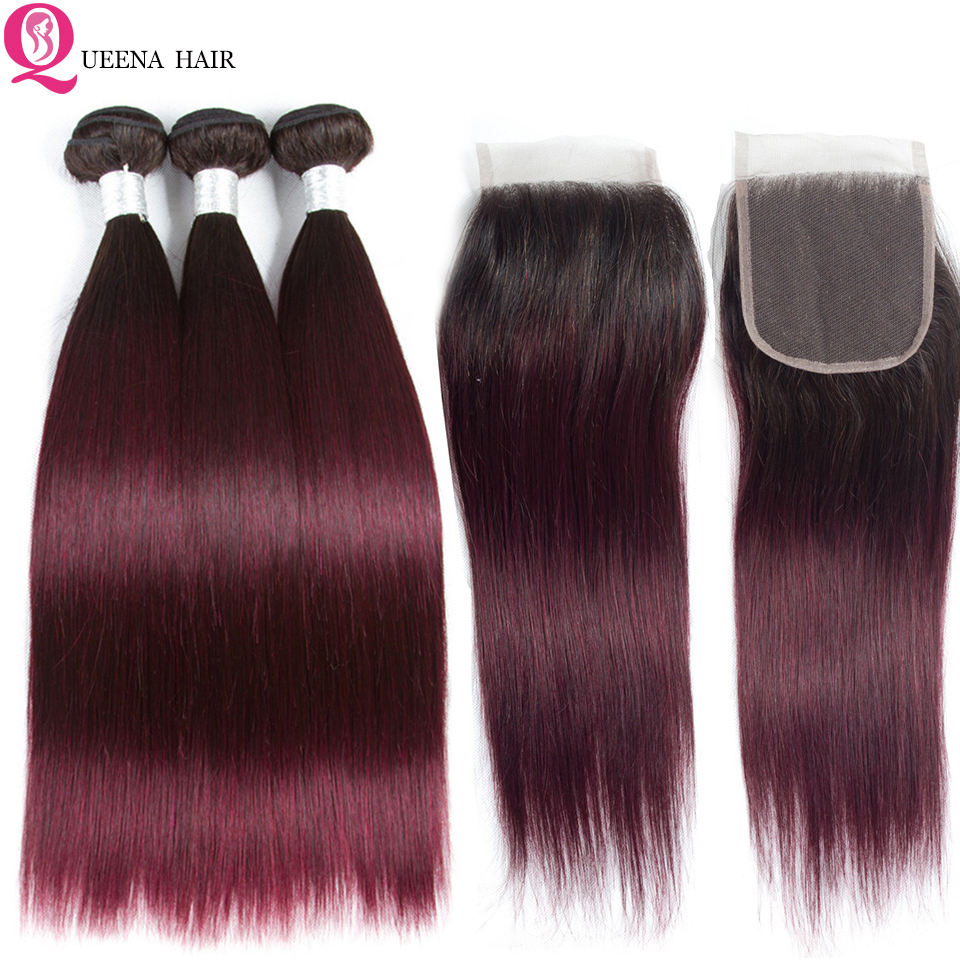 Queena 1B 99J Ombre Straight Hair Bundles With Closure Remy Peruvian Straight Human Hair Weave 3 Bundles With Closure Colored