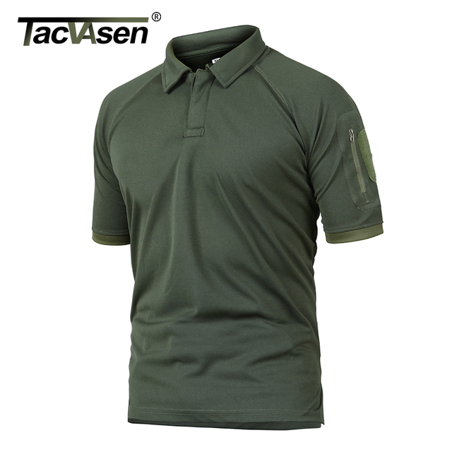 TACVASEN Summer T-shirts Golf Polos Men's Tactical Clothing Quick Dry Mesh Fabric Army Performance Airsoft Tee Shirts Tops Male 3