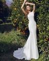 Loverxu Robe De Mariage Sexy Backless Mermaid Wedding Dresses 2016 Beading Crystal Soft Satin Trumpet Vestido De Noiva Plus Size