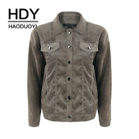 HDY Haoduoyi Line Corduroy Box Coat Autumn Winter Youth Contracted Keep Warm 2018 Women