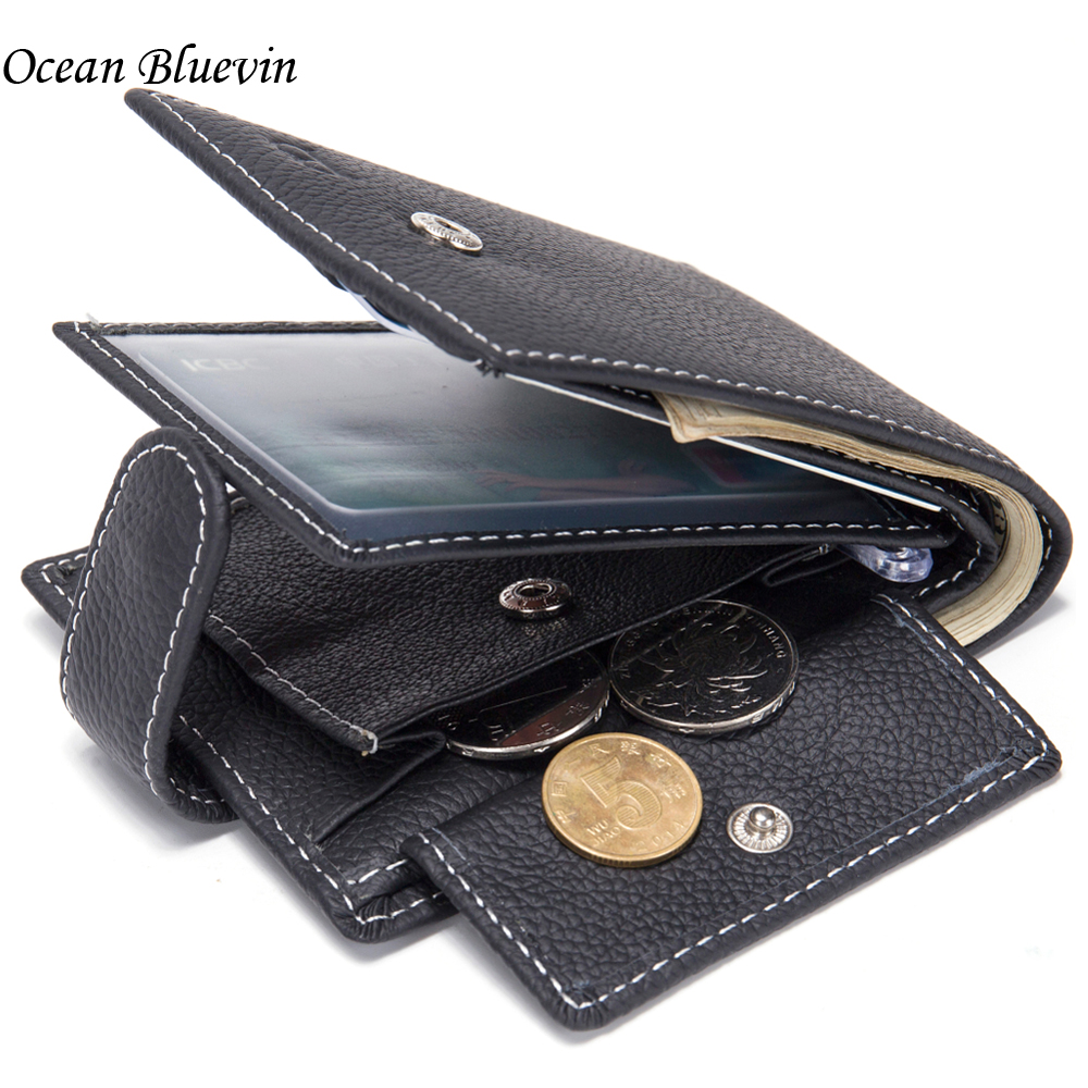 Hot Sale Dollar Price Mens Wallets Genuine Cow Leather With Coin Pocket Thin Slim Hasp 3 Fold ID Credit Card Holder Purse Wallet hot sale 2015 harrms famous brand men s leather wallet with credit card holder in dollar price and free shipping