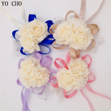 YO CHO Wholesale 10 pcs/lot Wrist Corsage Bridesmaid Sisters hand flowers Artificial Bride Flowers For Wedding Party Decoration
