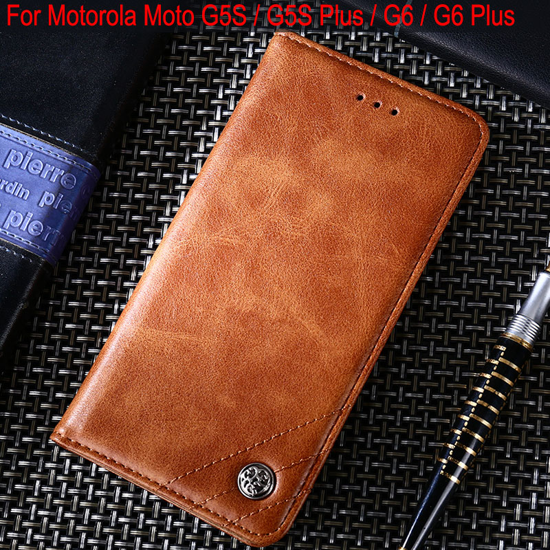 Case for Motorola Moto G5S Plus Luxury Leather Flip cover Stand Card Slot phone Cases for Motorola Moto G6 Plus Without magnets