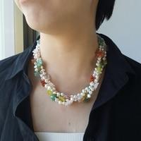 Lii Ji Freshwater Pearl Rose Quartz Korea Jade Green Aventurine Agate Flowers Jade Toggle Clasp Necklace