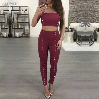 Black Wine Red Tops&Pant 2 Two Pieces Pearls Night Out Celebrity Evening Party Women Sets