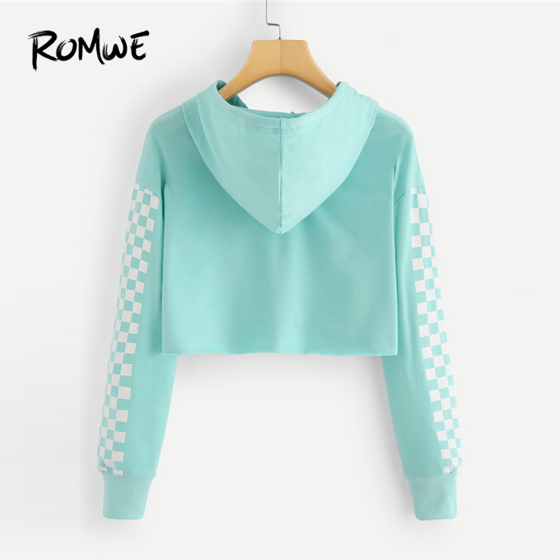 88cbcf0bb87 ROMWE Women Sweatshirt Pineapple Embroidered Gingham Hoodies Green Fall  Hooded Pullover Crop Tops Patched Plaid Sweatshirts-in Hoodies & Sweatshirts  from ...