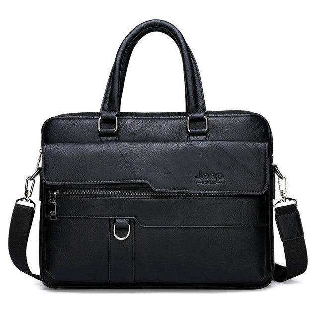 JEEP BULUO Men's Business Handbag Hot Large Capacity Leather Briefcase Bags For Man 13.3 inches Laptop Work Travel Bag Black