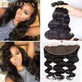 3Pcs Peruvian Virgin Hair with Closure 13*4 Ear To Ear Lace Frontal Body Wave Bundles Remy Human Hair Weave Body Wave Closure