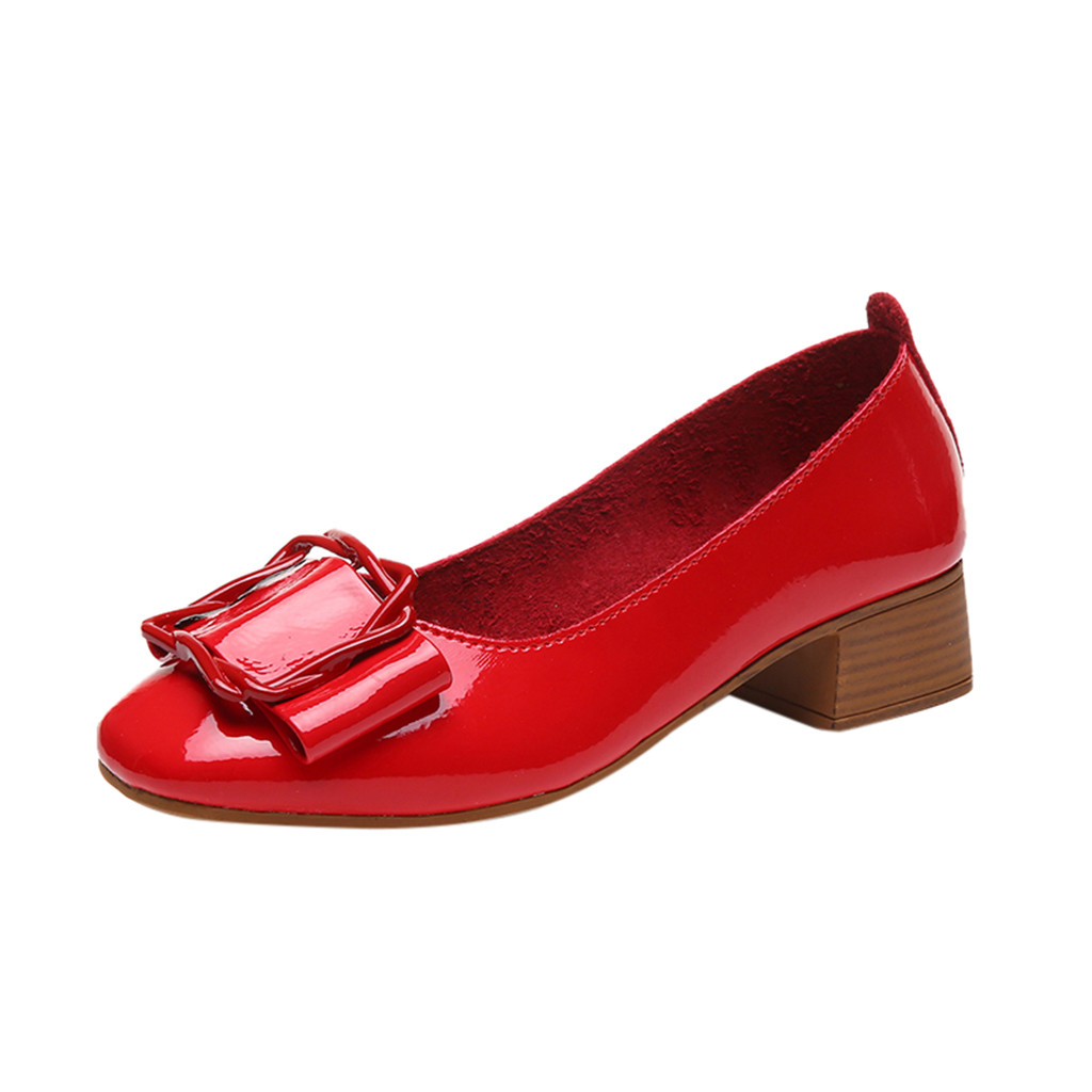 2019 New Woman Dress Shoes OL Office Lady Shoes Patent Leather High Heels Women Shoes Square Heeled Pumps Ladies Shoes