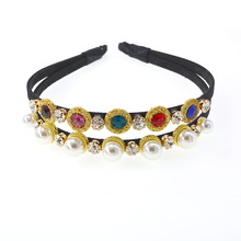 Baroque Double Hair Band Thin Gem Headbands Stunningly Beautiful Doubled Jewelled Embellished Jewel Hair Accessories for Women charming embellished blossom elastic hair band for women