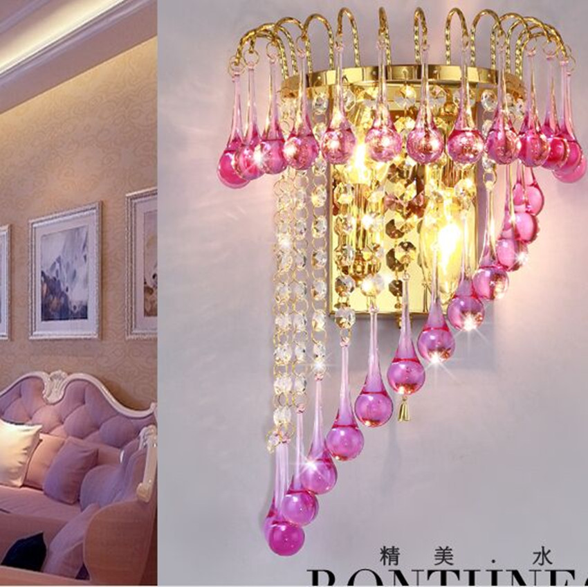 купить Modern fashion deluxe Warm  gold led wall lamps clear pink glass crystal tv wall Background wall bedroom wall light with switch недорого