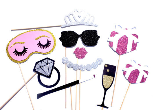 pink style bridal shower photo booth props set birthdays weddings parties photobooth masks 10 piece set in party masks from home garden on