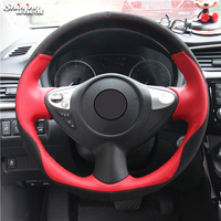 Shining wheat Red Leather Black Suede Steering Wheel Cover for Infiniti FX FX35 FX37 FX50 Nissan Juke Maxima 2009 2014 Sentra