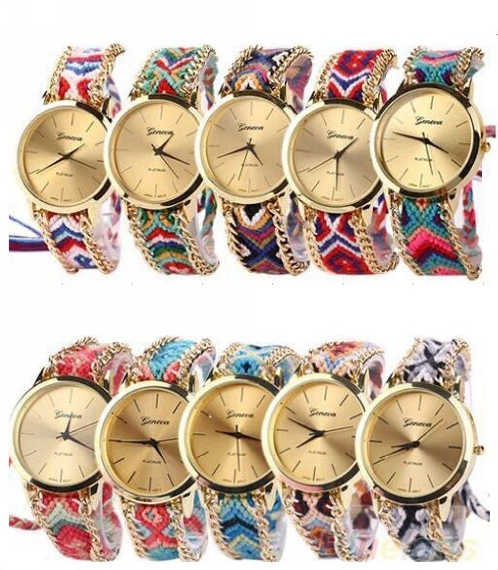 13 kolory genewa panie kobiety splot sukienka zegarek ręcznie pleciony ręcznie tkane moda bransoletka zegarek kwarcowy liny zegarek 100 sztuk/partia w Zegarki damskie od Zegarki na  Grupa 2
