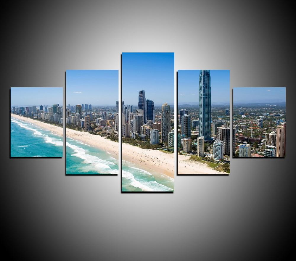 5 Panels Canvas Print Wall Art Picture Home Decor Beach Of Australia City Post YC046