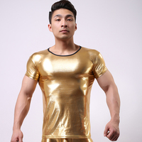 Summer 2015 New Arrival Fashion Brand Bright Colors Men Sexy Imitation Leather T Shirts Gay Evening