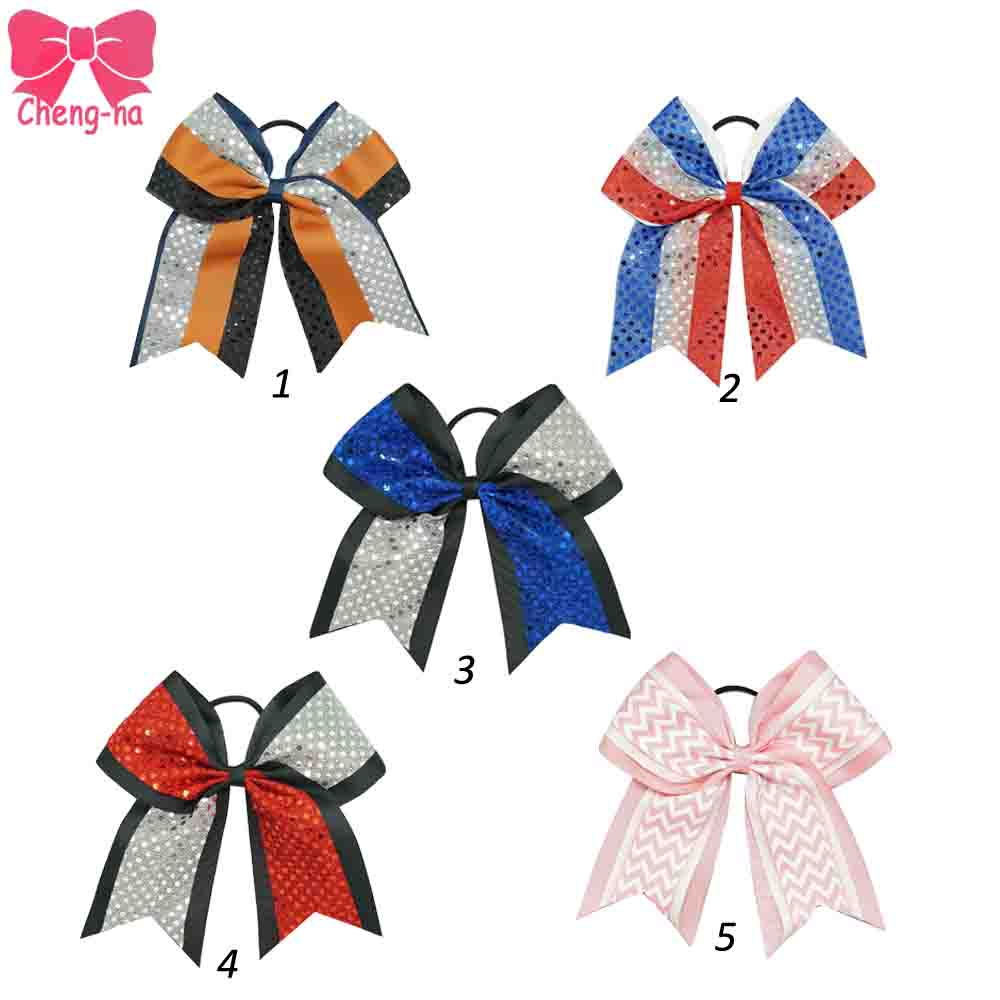 5pcs/lot 7 Sequin American Flag Cheerleading Bow Girls Bling Layers Cheer Bow With Elastic Band Kids Ribbon Hair Accessories 6pcs lot 7 inch sequin bling large cheer bowknot elastic hair band girls cheerleading for girl