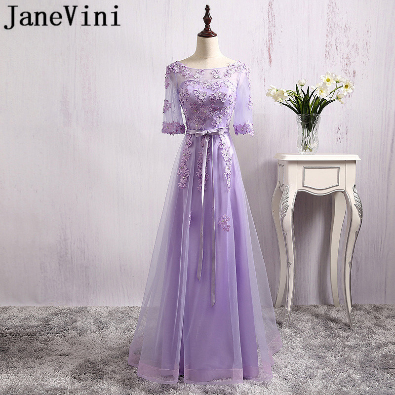 JaneVini Elegant Light Purple Beaded Wedding Party   Dresses   For Women Lace Backless Half Sleeve   Bridesmaid     Dresses   Girl Long Gown