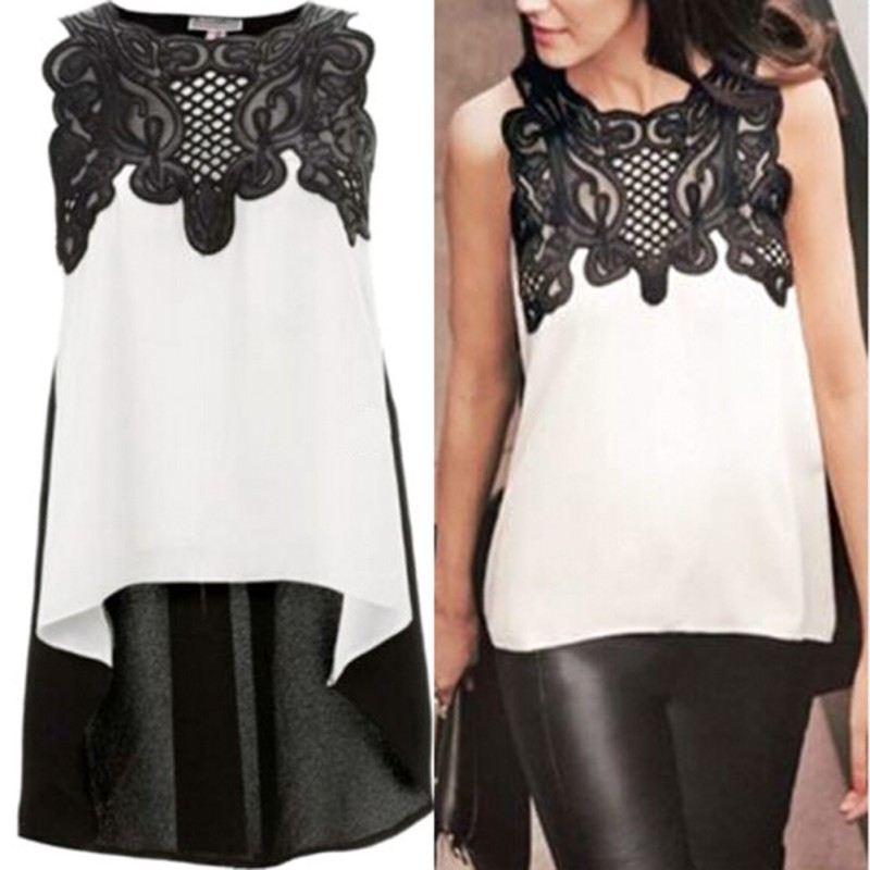 2018 Women Blouse Summer Patchwork Floral Blusas Women Sleeveless Lace Tank Tops Plus Size Women Clothing Blusa