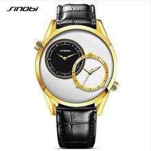 Reloj Del Negocio Del Mens SINOBI Marca de Fábrica Superior de Lujo de Oro de Doble Reloj de pulsera de Cuarzo de Cuero de Moda Los Hombres A Prueba de agua Reloj Relogio masculino