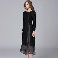 2018 Two Pieces Women Spring Autumn Fashion Dresses Plus Size O Neck Women Knitted Long Casual