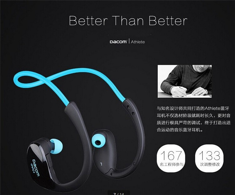 Dacom NFC Cordless Ear Hook Sport Bluetooth 4.1 earpiece Sweatproof Wireless Hifi Bass Headphones With Microphone (2)