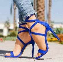 купить Fashion Blue Women Sandals Sexy Open Toe High Heel Sandals Summer Cross Strap Party Shoes Stilettos Thin Heels Shoes Free Ship по цене 4558.53 рублей