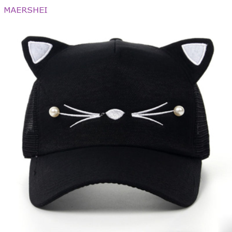 MAERSHEI Summer Beaded Cat Ears Baseball Cap Sanpback New Korean Version Of The Tide Child Cap Breathable Girls Net Cap