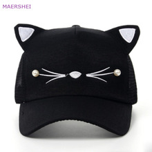 961056c75ff99 MAERSHEI Summer beaded cat ears baseball cap Sanpback new Korean version of  the tide child cap
