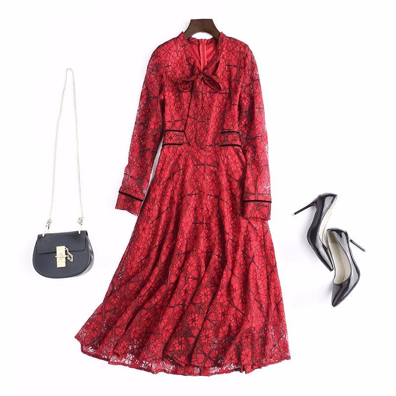 2018 Swing Mode Lady Chart Arc Une Robe Gamme See Dentelle Femmes Travail Rouge De Élégante Printemps Nouvelle Haut Office Robes Ligne fuchsia qCwgXnOw
