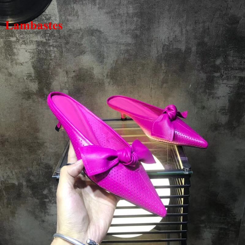 2018 Summer Candy Color Shoes Women Pointed Toe Butterfly-knot Cuts Out Designer Women Slippers Outdoor Thin Heel Women Slides venchale 2018 summer new cow leather solid outside butterfly knot high thin heel three colors casual pointed toe women s slides