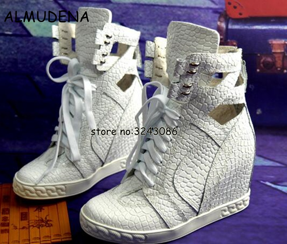 White Crocodile Leather Women Lace Up Ankle Boots Spring Autumn Casual Shoes Height Increasing High Platform Woman Short Boots