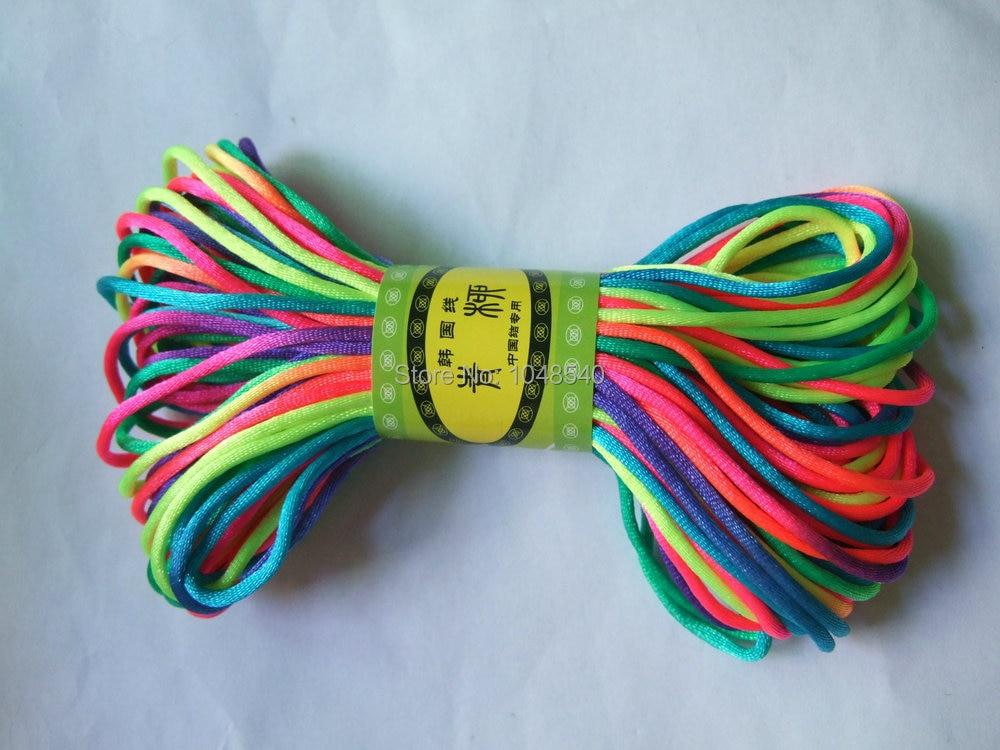 2mm Rainbow Rattail Satin Cord Chinese Knot Beading Cord Nylon ...