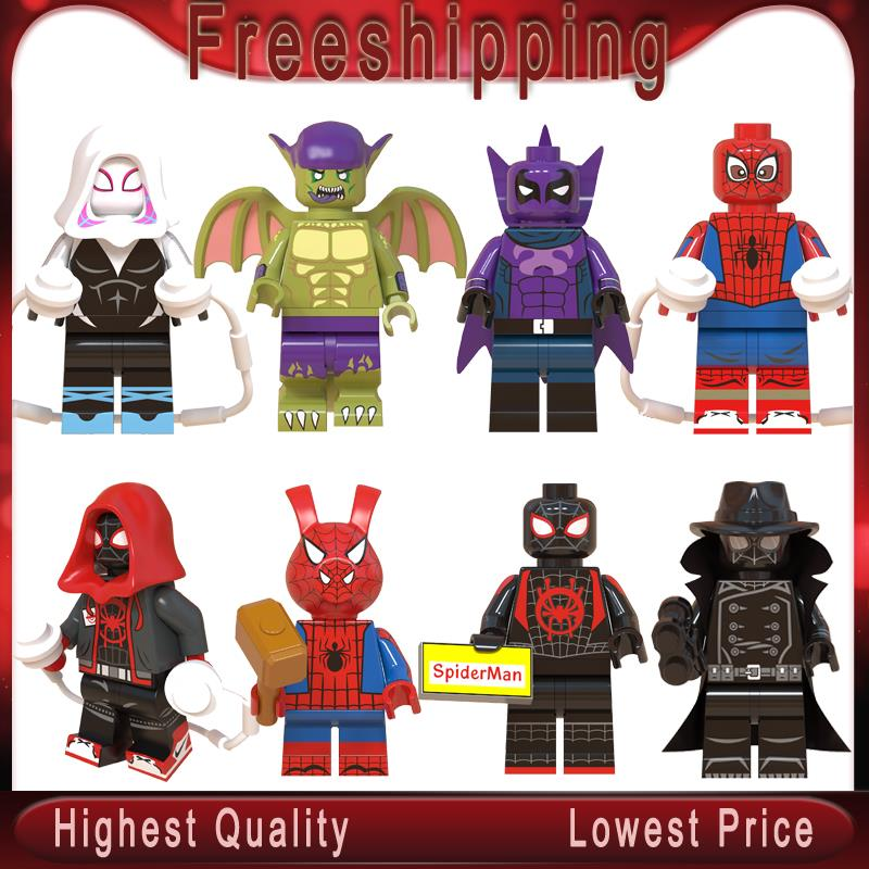 Marvel Spider-Man Into The Spider-Verse Web Of Shadows Gwen Spider-Ham Noir Prowler Building Blocks   WM6052