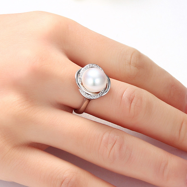 HENGSHENG AAAA Natural Freshwater Pearl Rings For Friend, Big Pearl 10-11mm Jewelry Rings, Women Rings