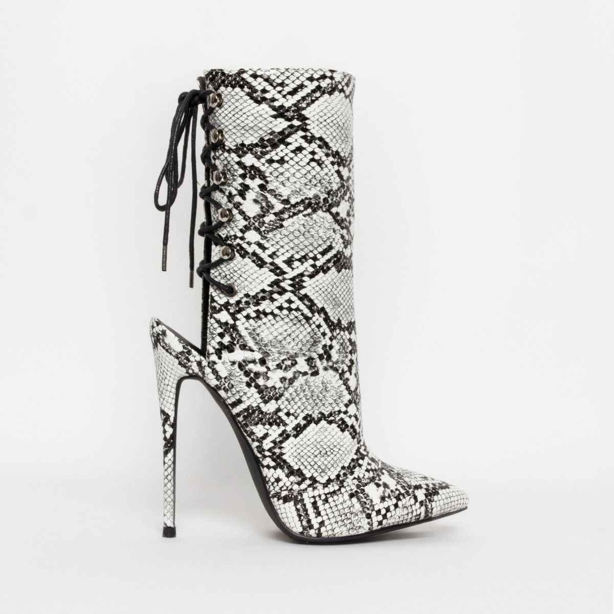 Serpantin kadınlar yarım çizmeler 2019 sonbahar dantel-up sivri burun Stilettos ayakkabı moda seksi Chelsea çizmeler yarım çizmeler kadınlar için