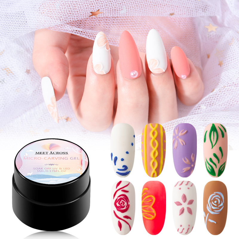 MEET ACROSS 3D Painting Gel 5ml Micro carving Nail Gel Polish Soak Off UV LED Gel Lacquer Varnish Esmalte Decarations Nail Art in Nail Gel from Beauty Health
