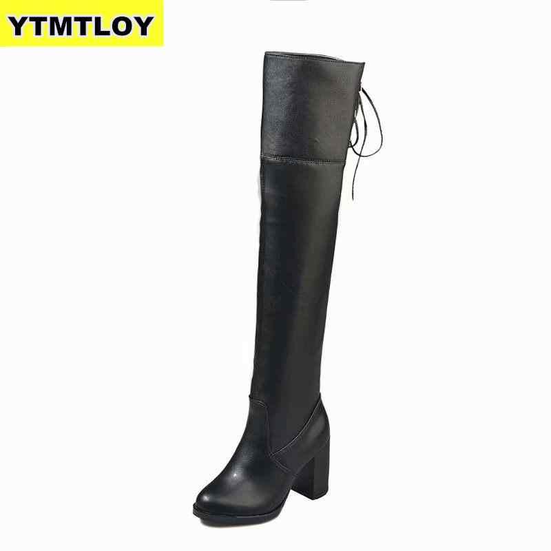 ผู้หญิงเข่าสูงรองเท้าแฟชั่นทั้งหมดชี้ Toe ฤดูหนาว Elegant Botas Mujer ยาวสีดำรองเท้า zapatos