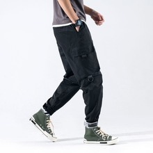 Mens Four Seasons New Cotton Blend Velcro Beams Overalls Tidal Wild Rope Closure Japanese Loose Mid-rise Casual Pants