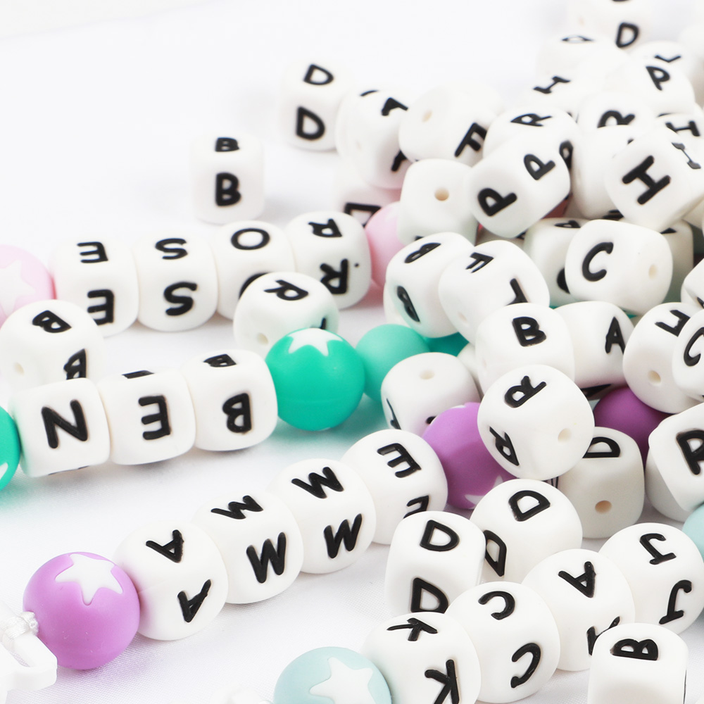 TYRY.HU 1pc 12mm Silicone Teething Alphabet Letter Beads Silicone Bead For Personalized Name Decklace DIY Silicone Letter