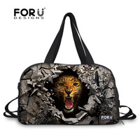 FORUDESIGNS Animal Gray Printing Sport Fitness Bag Large Capacity For Cool Men Gym Bag With Shoes