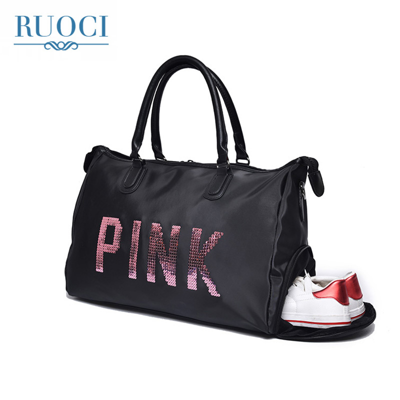 RUOCI Brand Large Capacity Waterproof Nylon Women Luggage Travel Handbags Ladies Pink Sequins Travel Duffle Shoulder Big Bags tegaote women travel bag large capacity duffle luggage bags big casual tote nylon waterproof female handbags luxury brand bolsas