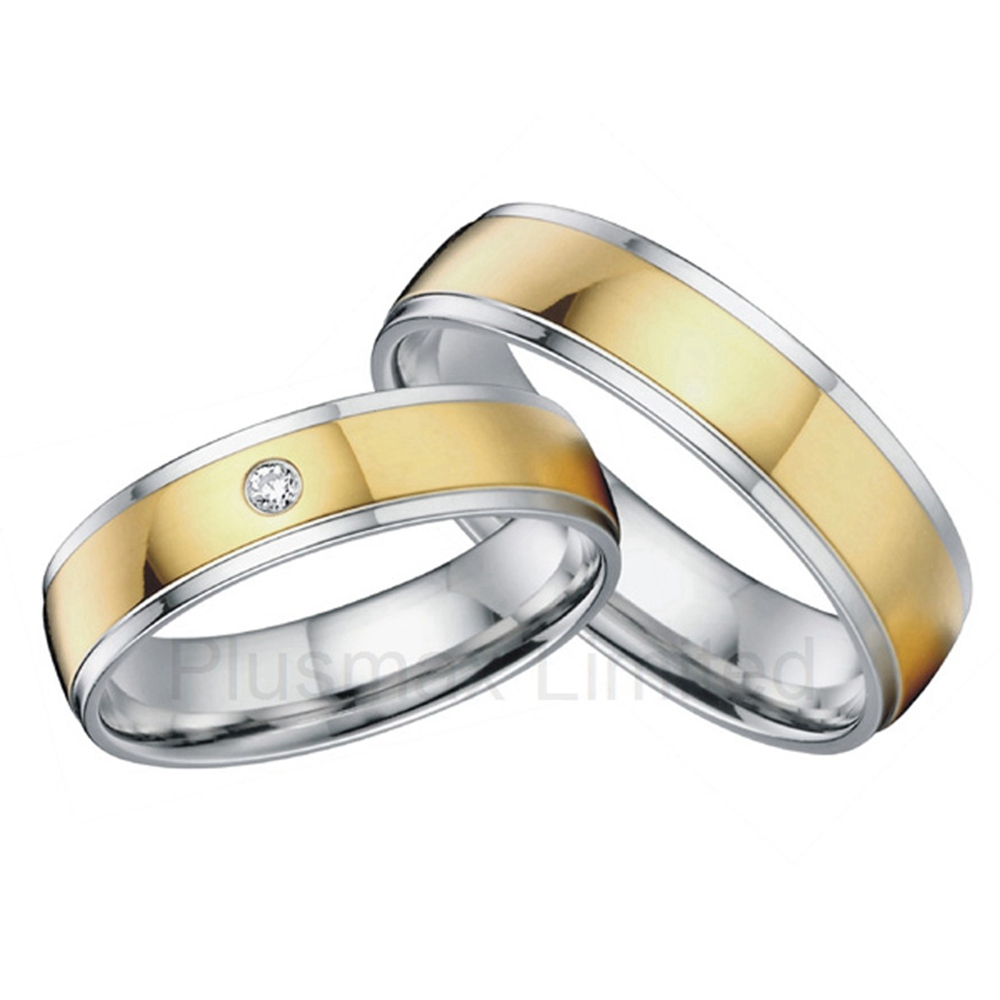 classic design gold color titanium cheap wedding bands anniversary engagement promise rings for men and women - Wedding Rings For Cheap