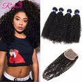 Grade 8A Brazilian Virgin Hair With Closure 3PC Rosa Hair Products With Closure Brazilian Kinky Curly Virgin Hair With Closure